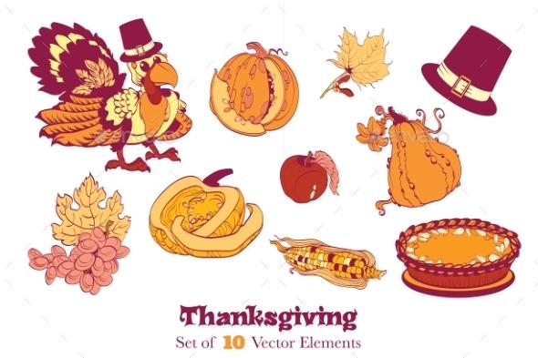 Ten Thanksgiving Design Elements. Turkey Pumpkin - Web Elements Vectors