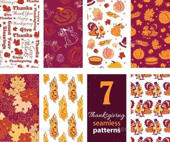 Vector Thanksgiving Turkey Pumpkins Seven Set - Backgrounds Decorative
