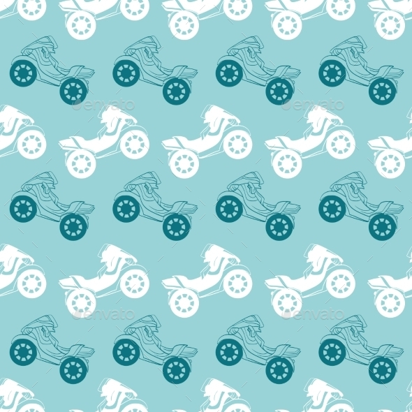Vector Motorcycles Blue Brown Stripes Seamless - Patterns Decorative