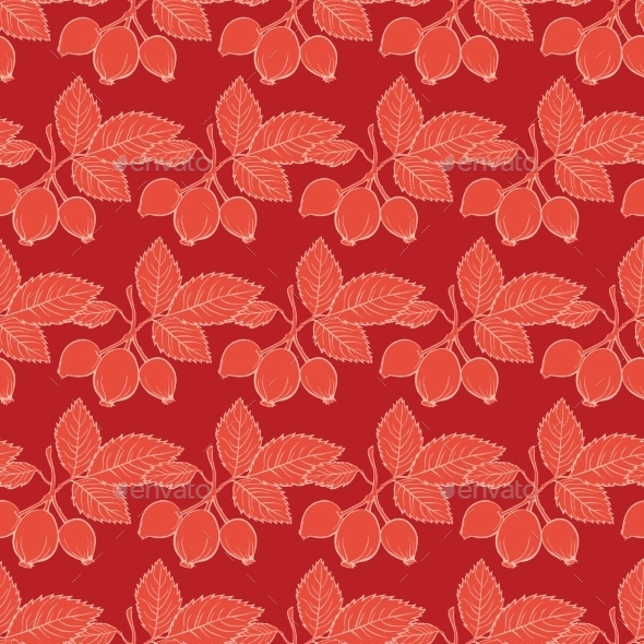 Vector Red Rosehip Drawing Stripes Seamless - Flowers & Plants Nature