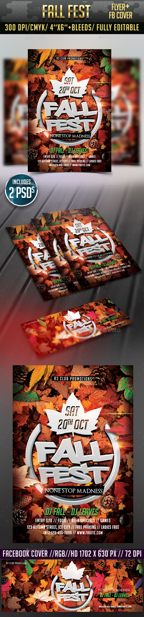 Autumn/ Fall Fest Flyer + Facebook Cover - Clubs & Parties Events
