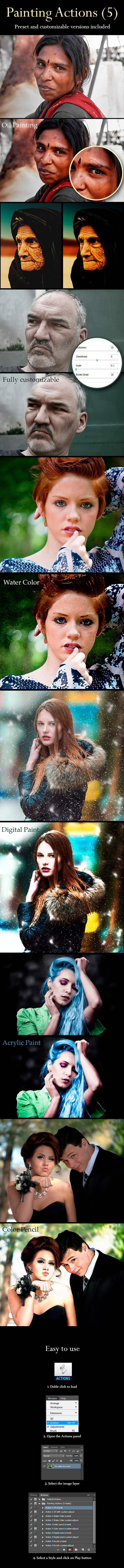 Painting Actions (5 Styles) - Photo Effects Actions