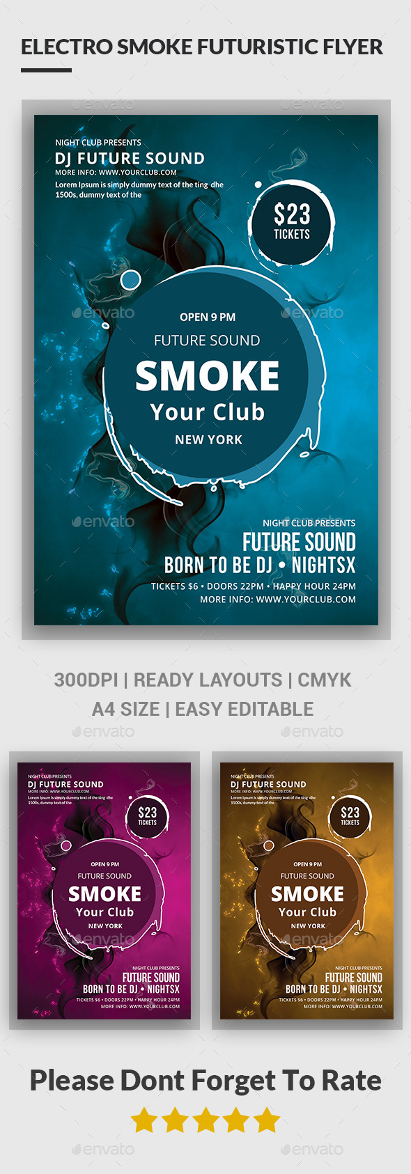 Electro Smoke Futuristic Flyer - Clubs & Parties Events