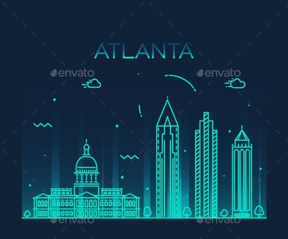 Atlanta Skyline Trendy Vector Illustration Linear - Landscapes Nature