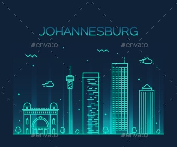 Johannesburg Skyline Vector Illustration Linear - Landscapes Nature