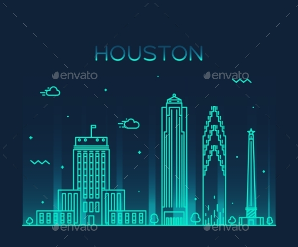 Houston Skyline Trendy Vector Illustration Linear - Landscapes Nature