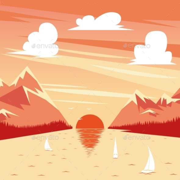 Vector Illustration Of Summer Sunset