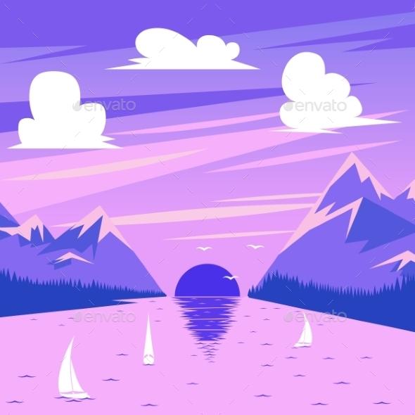 Vector Illustration Of Summer Sunset - Landscapes Nature