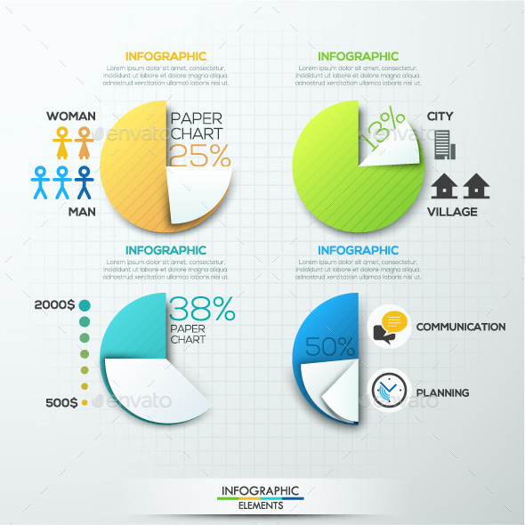 Modern Infographic Paper Pie Charts