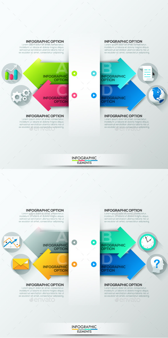 Modern Infographics Paper Template (2 Colors) - Infographics