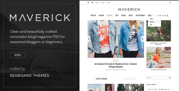 Maverick - Minimalist Blog/Magazine PSD - Miscellaneous PSD Templates