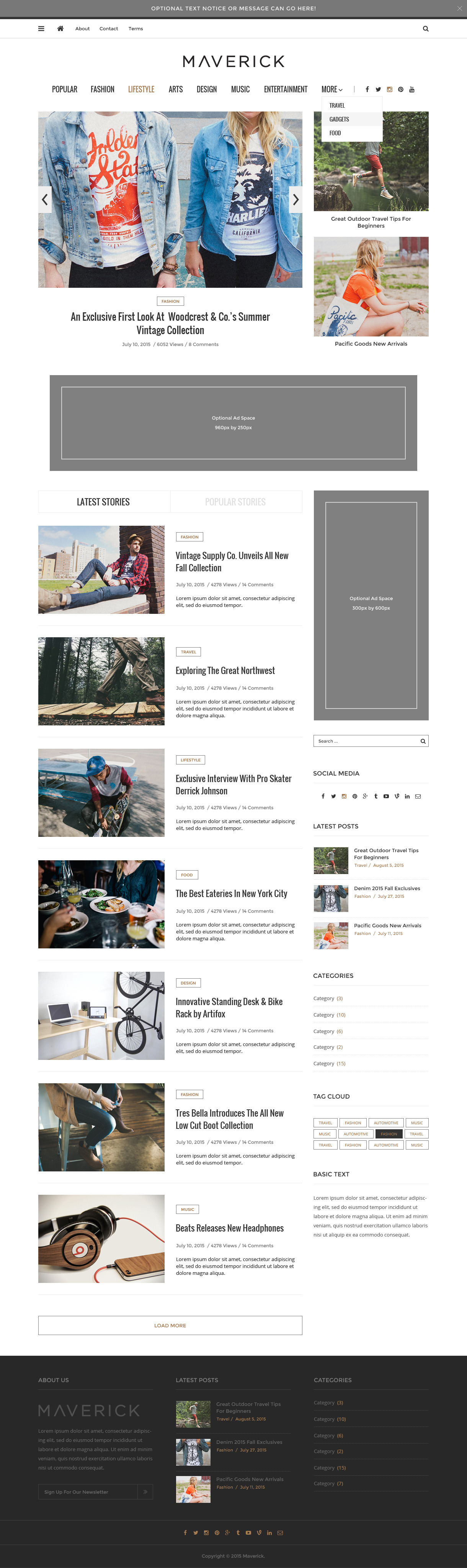 Maverick minimalist blog magazine psd by seaboardthemes for Minimalist house list