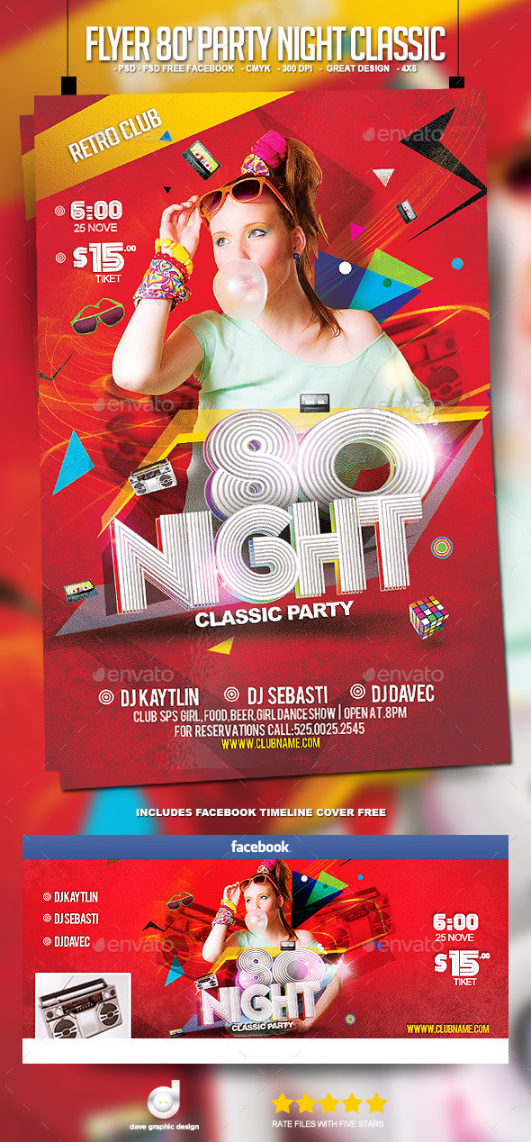 Flyer 80's Party Night Classic - Clubs & Parties Events