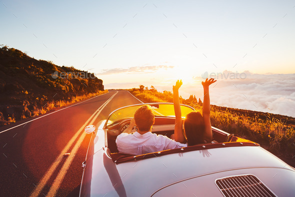 Driving into the Sunset - Stock Photo - Images