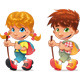 Trekking boy and girl.  - GraphicRiver Item for Sale