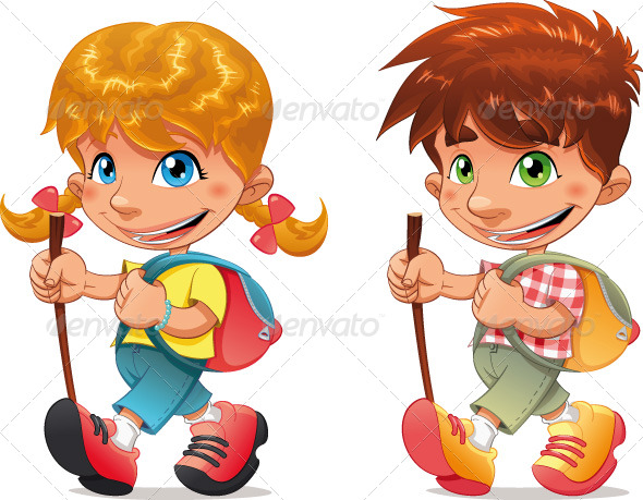 Trekking boy and girl.  - Sports/Activity Conceptual