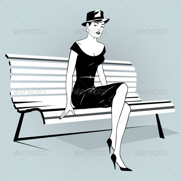 Young Woman Sitting On A Bench - People Characters