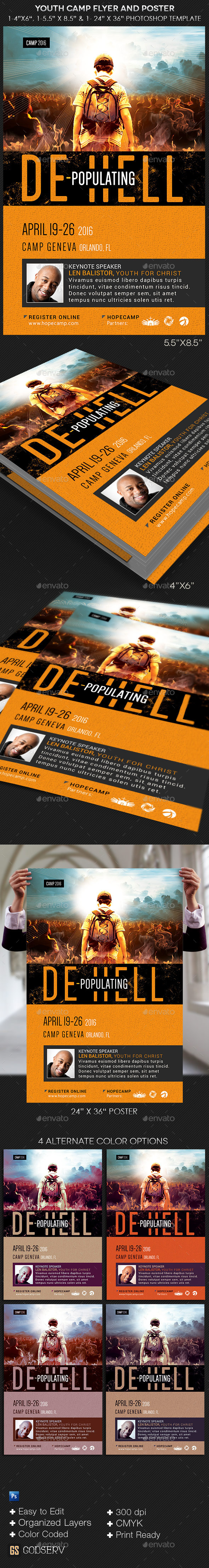 Youth Camp Church Flyer Poster Template - Church Flyers