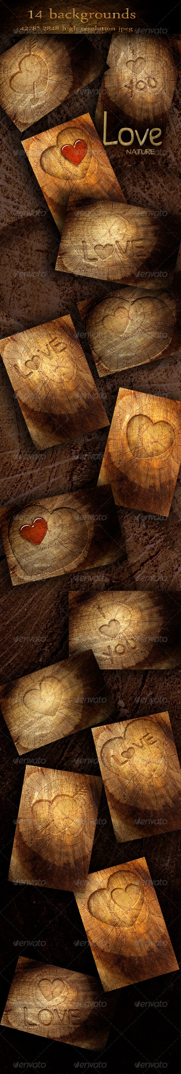 Nature Wood Backgrounds with Love Symbols - Nature Backgrounds