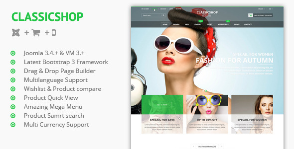 Classic Shop -  Joomla Virtuemart 3 Template - Fashion Retail