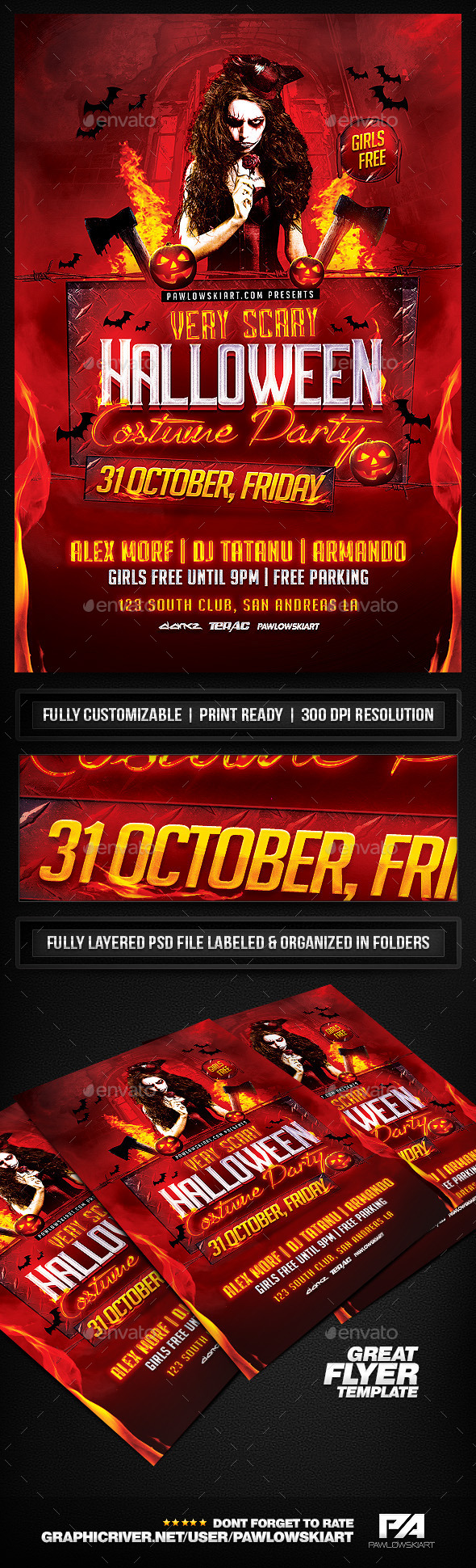 Very Scary Halloween Party Flyer Template