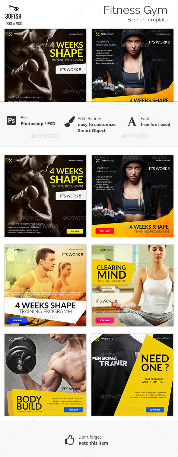 Fitness Gym Banner - Banners & Ads Web Elements