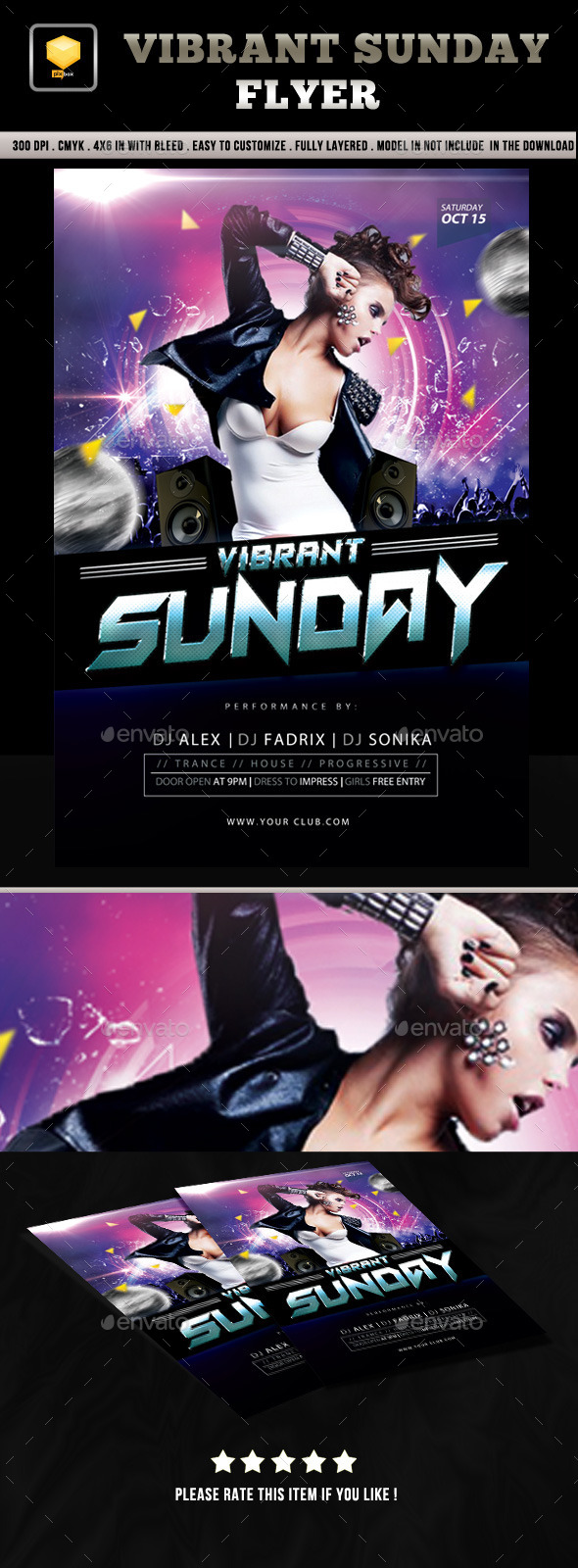 Vibrant Sunday Flyer - Clubs & Parties Events