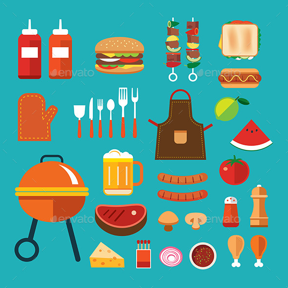 Barbecue Flat Icon - Food Objects