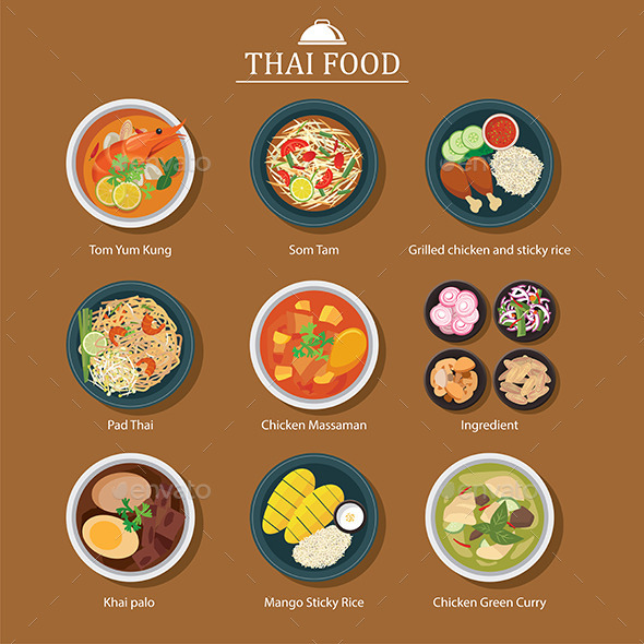 Set of Thai Food - Food Objects