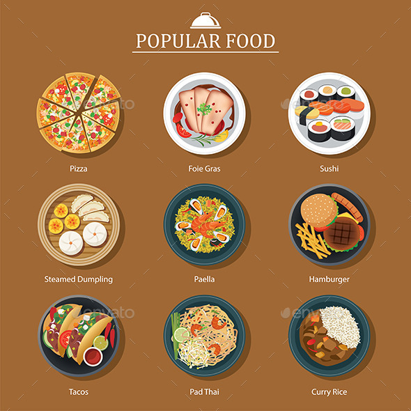 Set of Popular Food - Food Objects
