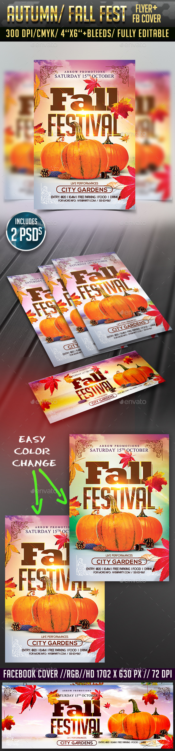 Autumn/ Fall Festival Flyer + Facebook Cover - Clubs & Parties Events