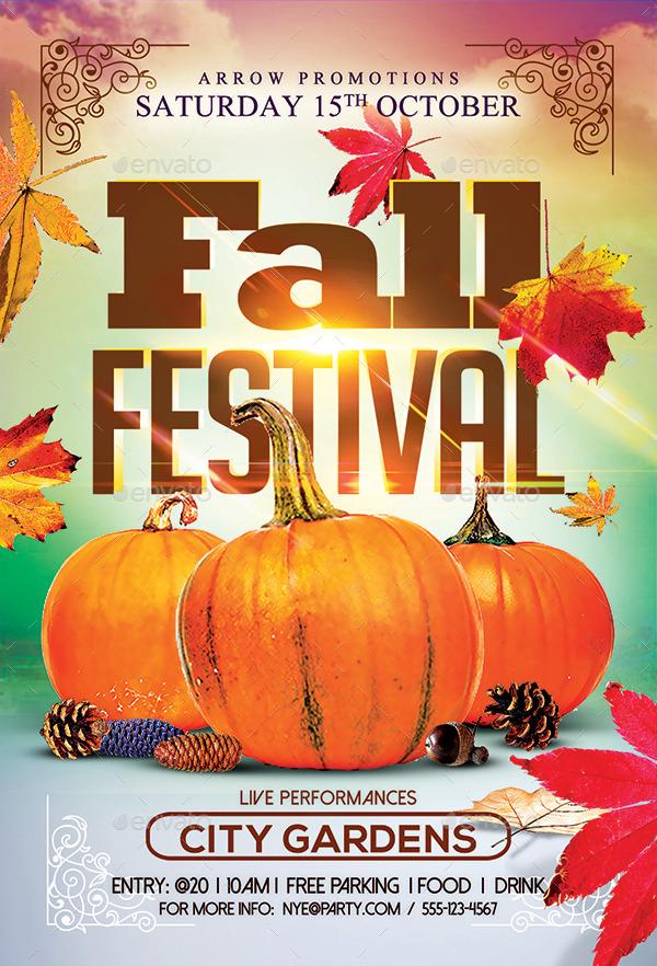 autumn fall festival flyer facebook cover