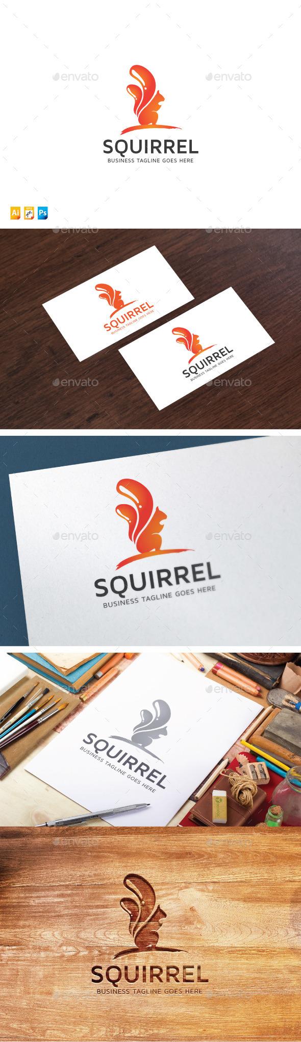 Squirrel Paint Media - Animals Logo Templates