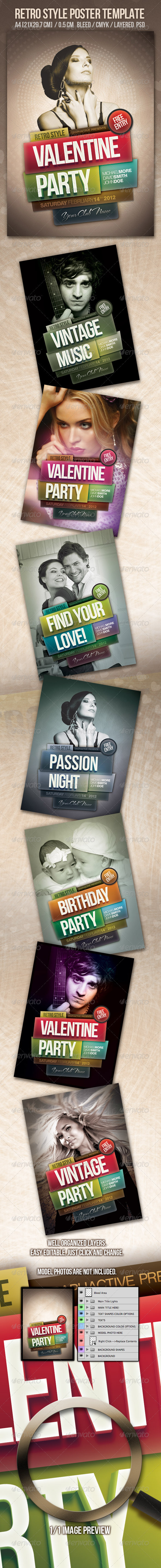 Vintage Style Poster Design Template - Clubs & Parties Events