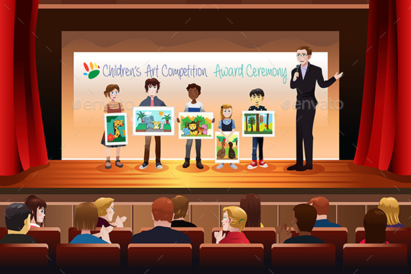 Kids Receiving Award in Art Competition - People Characters