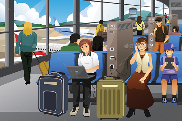 Travelers Charging Their Electronic Devices - Travel Conceptual