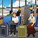 Travelers Charging Their Electronic Devices - GraphicRiver Item for Sale