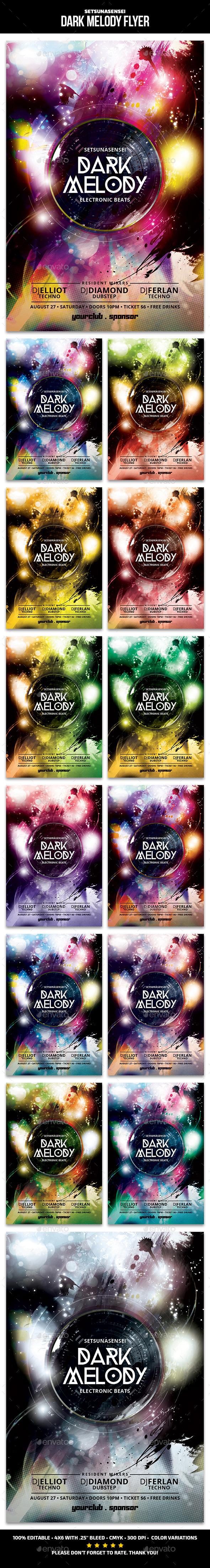 Dark Melody Flyer - Clubs & Parties Events