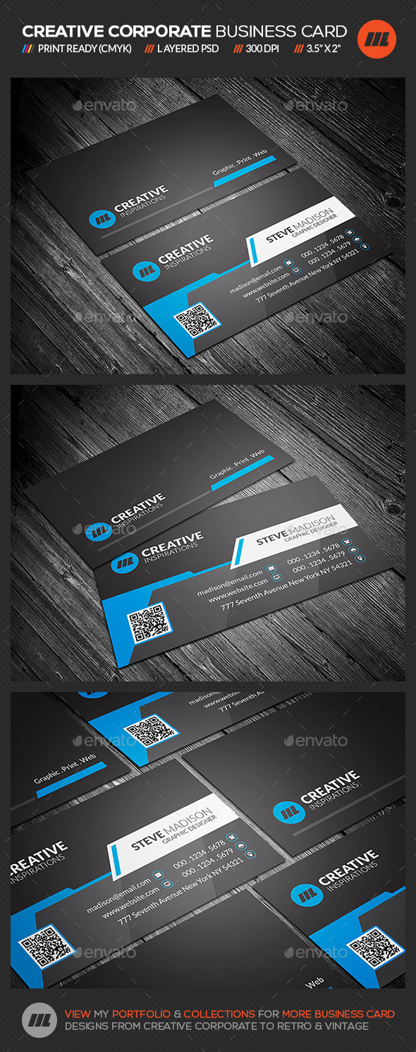 Creative & Modern Corporate Business Card - Corporate Business Cards