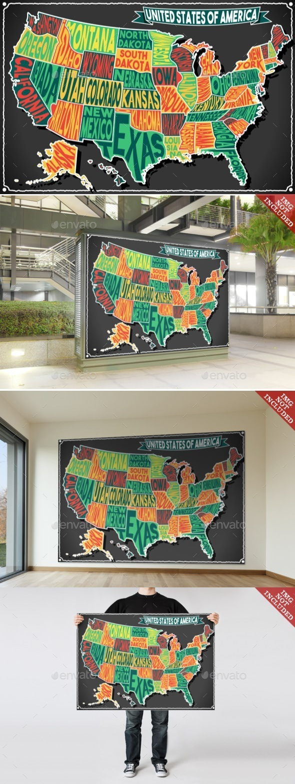 USA Map Vintage Blackboard 2D - Backgrounds Decorative
