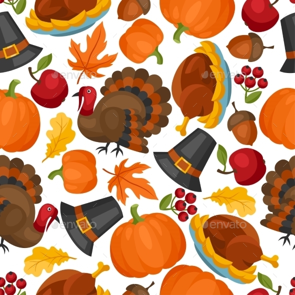 Happy Thanksgiving Day Seamless Pattern - Seasons/Holidays Conceptual