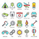 Camping and Outdoor Activities Line Icons - GraphicRiver Item for Sale