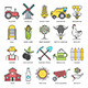 Farming and Agriculture Flat Line Icons - GraphicRiver Item for Sale
