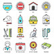 Pet Food and Accessories Flat Line Icons - GraphicRiver Item for Sale
