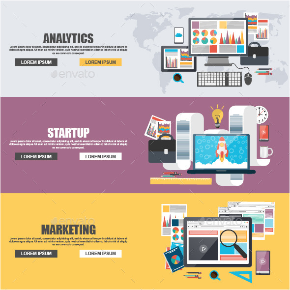 Flat Design Concepts for Business Marketing