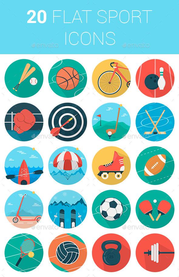 Flat Icons Sport Set - Web Icons