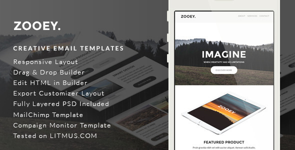 Zooey – Creative Email Template + Builder Access