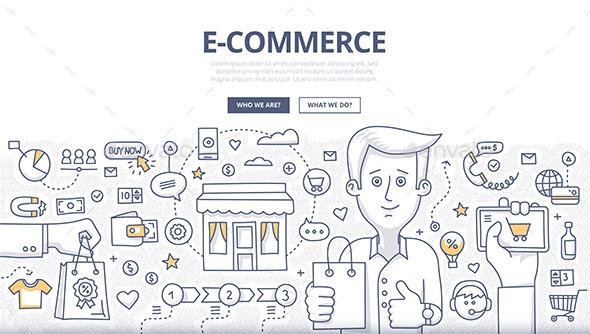E-comerce Doodle Concept - Commercial / Shopping Conceptual