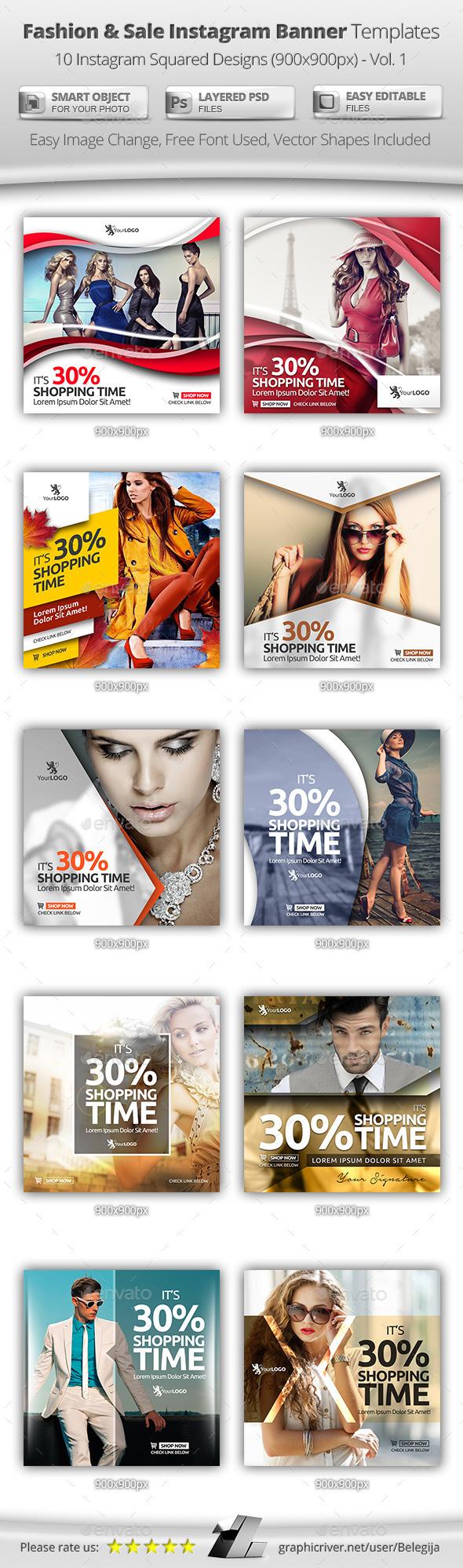 10 Fashion & Sale Instagram Banner Templates - Banners & Ads Web Elements
