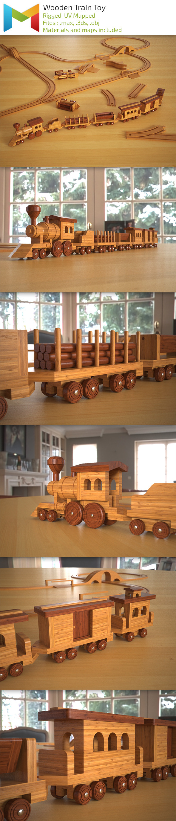 Wood Train Toy - 3DOcean Item for Sale